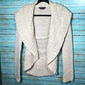 BCBG Cozy Wool Blend Open Front Cardigan Size M